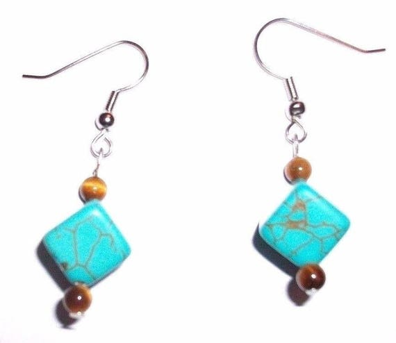 Tigers Eye and Howlite Earrings - Tigers Eye Round Stone and Howlite Cube Stone - Silver Hook - Stone Healing
