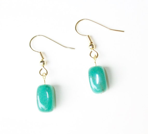 Natural Green Jade Stones & Gold Earrings