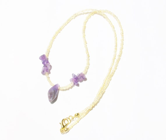 Amethyst Stones & Gold Necklace