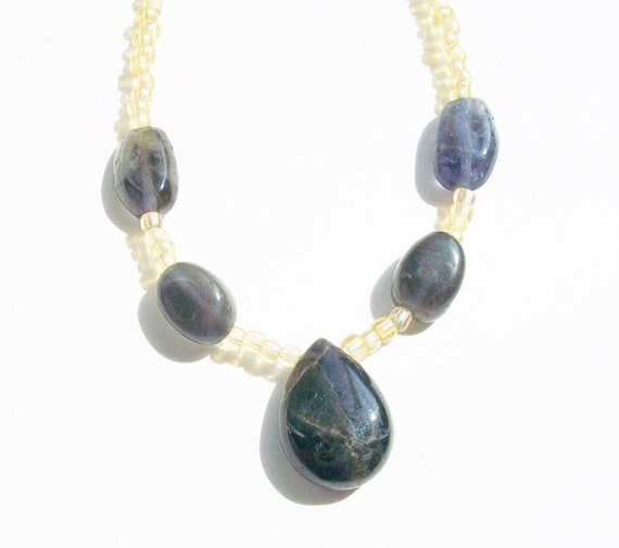 Dark Blue Iolite Stones & Gold Necklace