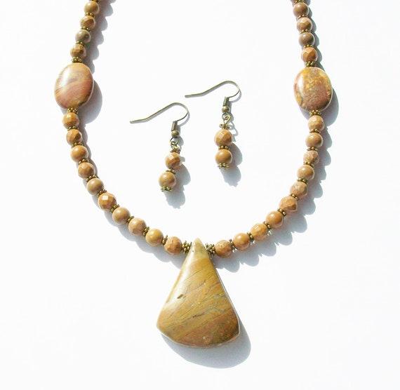 Jasper Necklace & Earrings Set