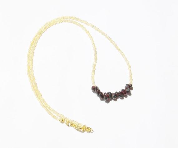 Garnet Stones & Gold Necklace