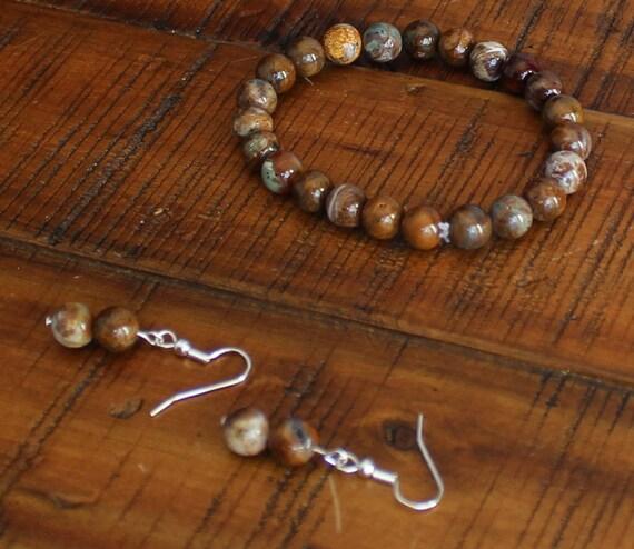 Jasper Stretch Bracelet and Jasper Earrings Set