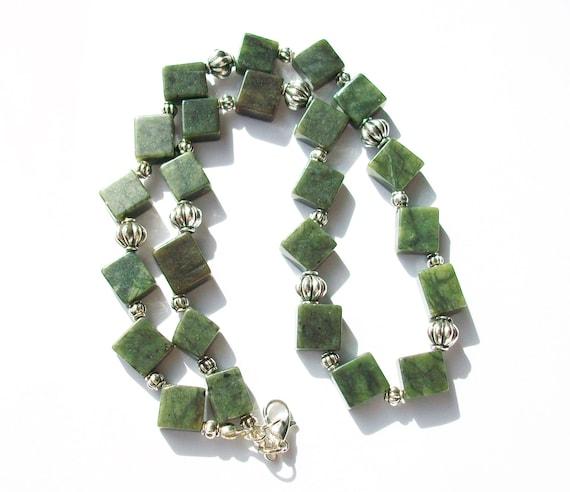 Dark Green Serpentine Necklace & Earrings Set