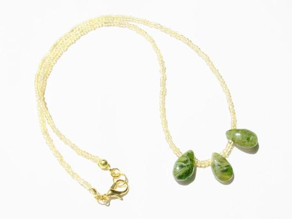 Vesuvianite Stones & Gold Necklace
