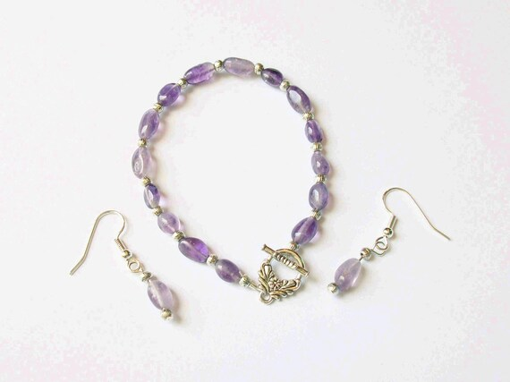 Amethyst Bracelet & Earrings Set - February Birthstone