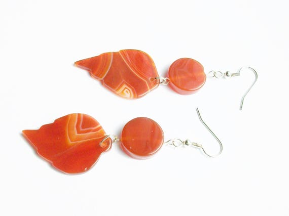 Orange Leaf Agate & Silver Earrings