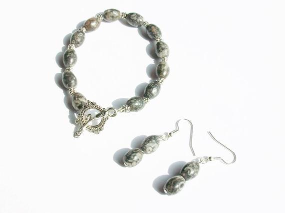 Fossil Agate Bracelet & Earrings Set
