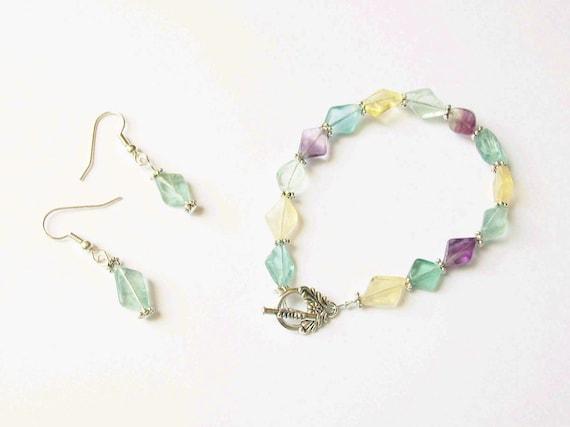 Rainbow Fluorite Bracelet and Earrings Set