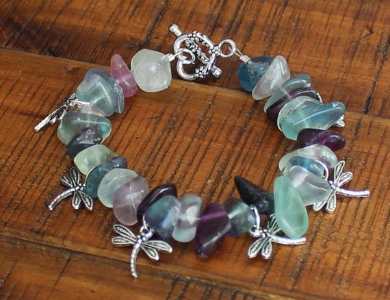 Rainbow Fluorite Stones with Silver Dragonflies Bracelet