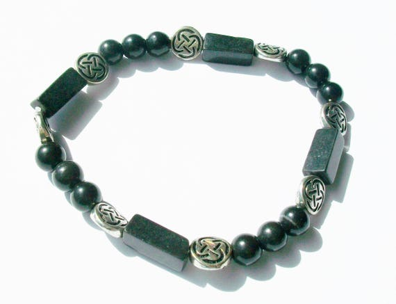 Men's Black Serpentine Stones & Silver Stretch Bracelet