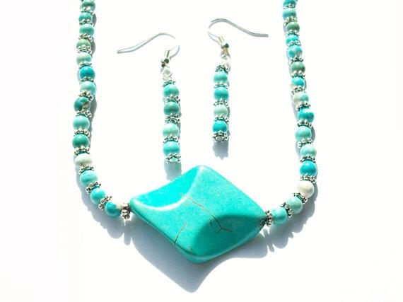 Azure Magnesite Stone Necklace & Earrings Set