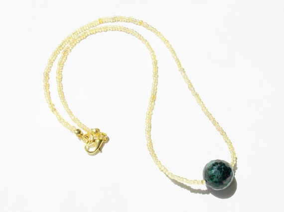 Ruby in Zoisite Stone & Gold Necklace