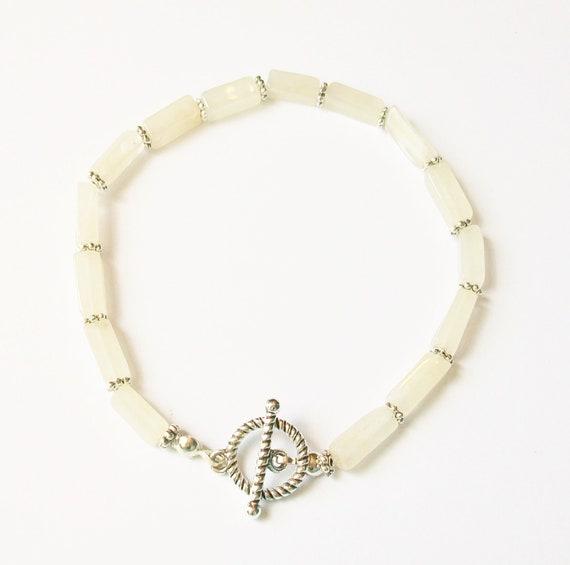 Rose Quartz & Silver Toggle Bracelet