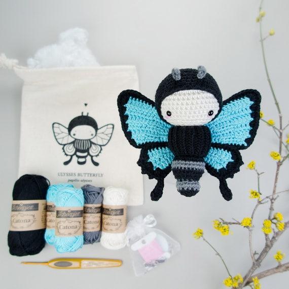 crochet de amigurumi Crochet Kit lalylala Ulises mariposa | Etsy