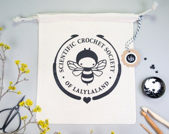 lalylala crochet PROJECT BAG (tote) for yarn and craft supplies • bee print 'Scientific Crochet Society of Lalylaland'