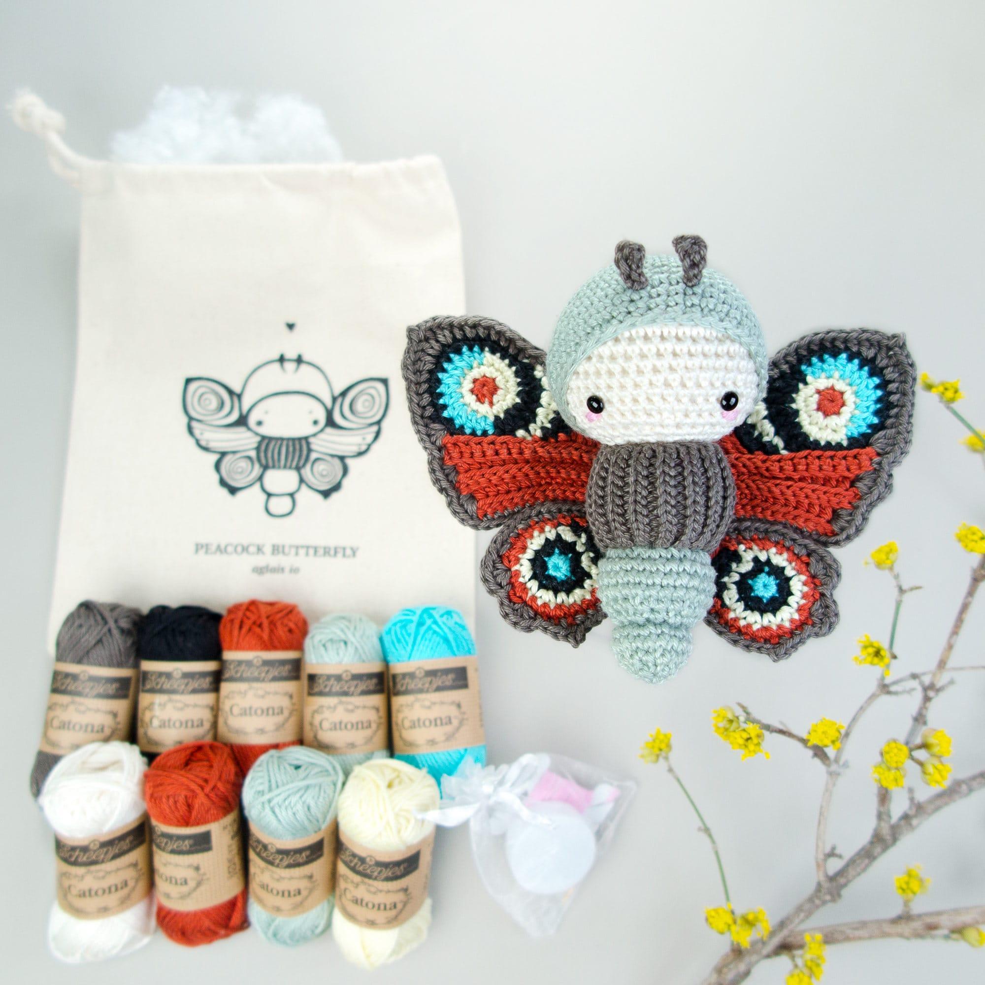 Crochet Kit lalylala bugs Peacock butterfly materials | Etsy