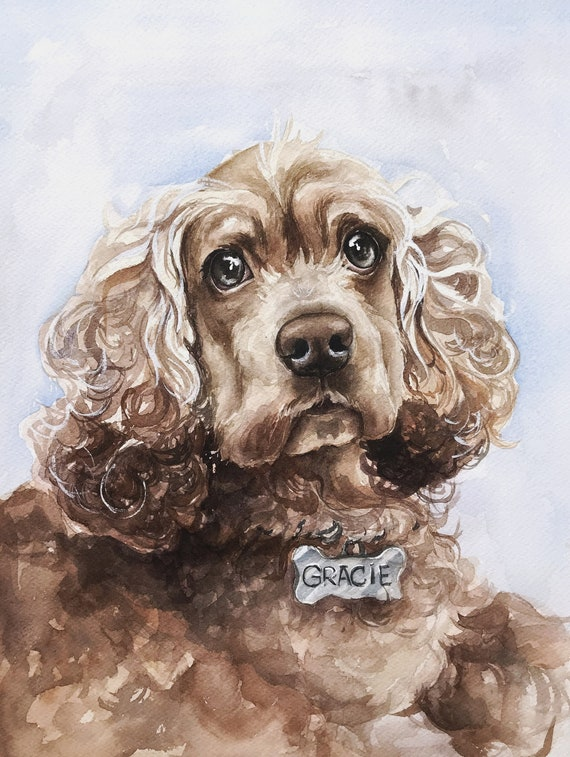watercolor CUSTOM detailed pet portrait from your provided photograph