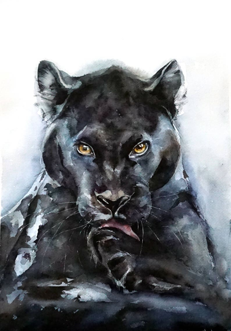 cfbfb603f5dad Original Watercolour Painting- Black panther art, animal, illustration,  animal watercolor, animals paintings, animals, portrait, yellow eyes