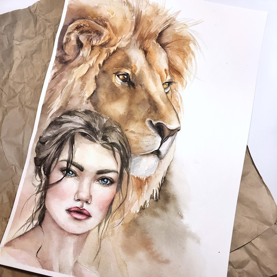 Lion Art Female Painting