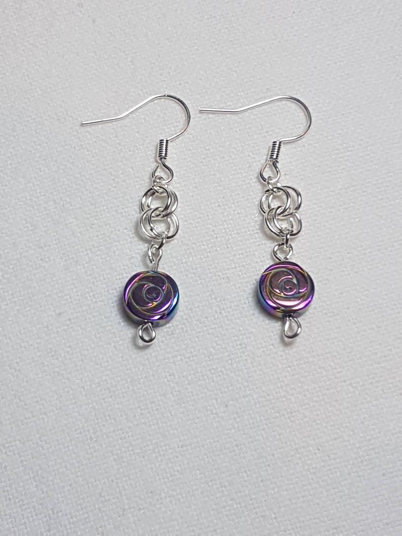 Silver plated non-metallic Hematite rose carved petrol bead earrings Gift for any occasion. Hematite earrings Hematite rose earrings