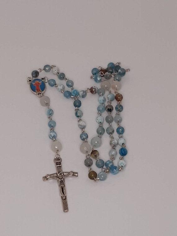 Crucifix cross pendant Beautiful rosary beads necklace