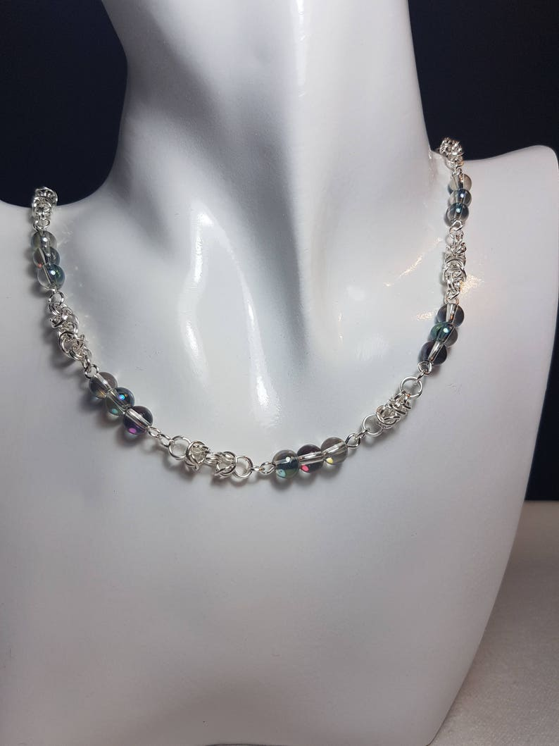 Rainbow coloured bubble glass beads Silver plated Byzantine necklace Gift for any occasion. Byzantine design Unique gift idea