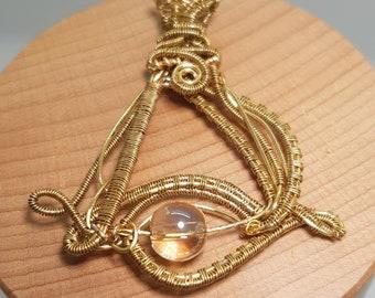 Wire wrapped pendant, eye pendant