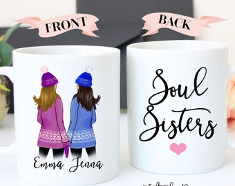 Personalized Best Friend Gift, Best Friend Gift, Friendship gift, coffee mug, Friendship custom, soul sisters mug, best friend mug