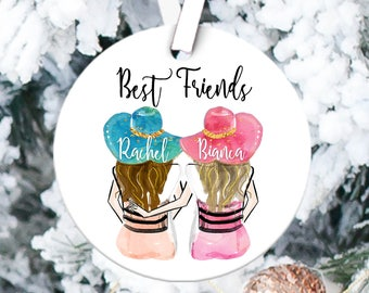 christmas custom best friends girls ceramic ornament christmas tree ornament gift for sister under 25 best friends custom names ornament