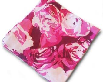 Pink Roses Pocket Square