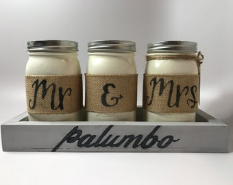 Mr & Mrs Mason Jars, Personalized Tray, Rustic Wedding Decor, Centerpieces, Wedding Gift, Engagement Party Gift, Bridal Shower, Couples Gift
