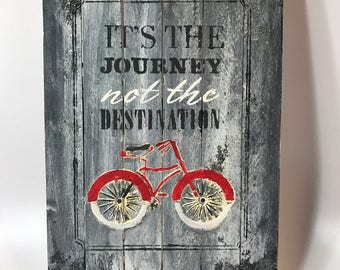It's about the journey, Valentine sign on pallet wood, dimensional art, engagement, anniversary hand painted sign