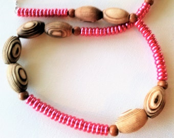 Long, Bright Pink Rondelle Beaded Necklace