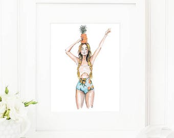 Anana •  Fashion Illustration | Glicée Art Print | Wall Art | Fashion Art