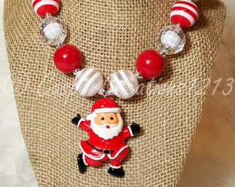 Santa Necklace, Christmas Necklace, Santa Claus, Christmas Jewelry, Bubblegum Necklace, Chunky Bead Necklace, Children's Necklace