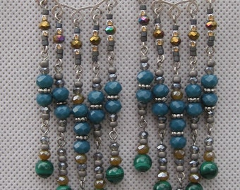 Chandelier earrings with malachite beads and sterling silver