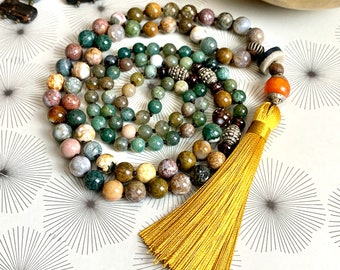 108 bead mala necklace with jasper, Tibetan amber and silky tassel - boho prayer beads in natural gemstone - long beaded single strand