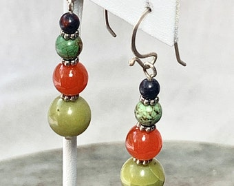 Gemstone bead dangle earrings in turquoise, carnelian and silver. Earthy, fun and casual earrings at 50% off.