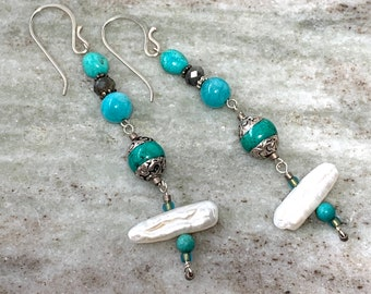 Beaded dangle earrings in natural turquoise, freshwater pearl and sterling silver - gemstone beaded jewelry - 50% off sale now!