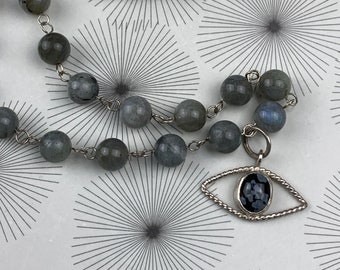 Evil eye charm and labradorite beaded necklace - talisman protection jewelry