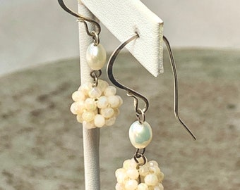 Freshwater pearl earrings with woven crystal bead drop, 50% off sale.