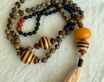 Mala prayer beads - long gemstone necklace - Jasper stone, wood and amber power bead with traditional 108 count design. Handmade tassel.