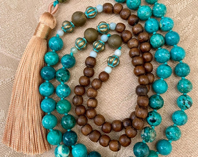 Featured listing image: Beaded mala necklace of chrysocolla and wood with a silky tassel.