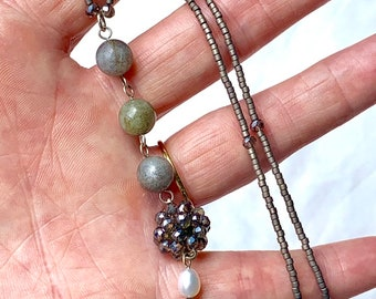 Labradorite , pearl and woven bead lariat necklace with sterling silver clasp.