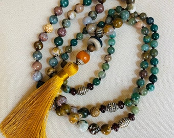 Mala necklace with Ocean jasper, Fancy jasper, pewter marker beads and an African trade bead, Tibetan amber and silver bead and silky tassel