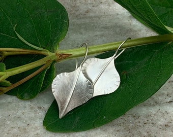 Nature jewelry - small leaf earrings - sterling silver leaf earrings - boho style earrings for nature lover