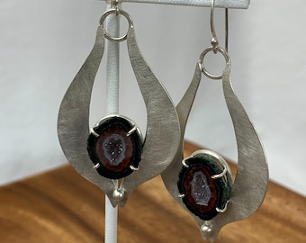 Geode crystal dangle earrings, gemstone and sterling earrings, boho jewelry for nature lovers, free-spirited one-of-a-kind design