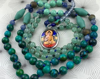 Buddha mala necklace in greens and blues - beaded mala necklace with Buddha charm - prayer beads for men and women.