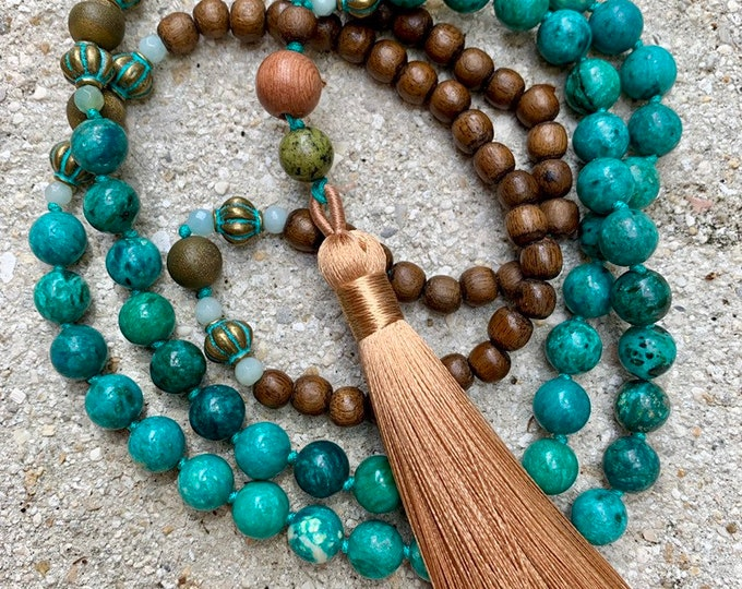 Featured listing image: Long beaded necklace of chrysocolla beads with a silky tassel. 108 bead strand authentic mala.